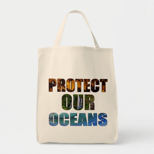"""""""Protect Our Oceans"""" Hawaiian Grocery Tote"""