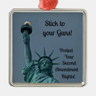 Protect Second Amendment Rights... Silver-Colored Square Decoration