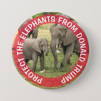 PROTECT THE ELEPHANTS  Anti Donald Trump Button
