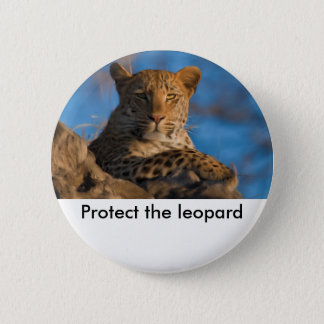 Protect The Leopard 6 Cm Round Badge