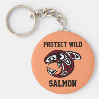Protect Wild Salmon button Key Ring