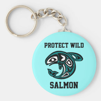 Protect Wild Salmon button Keychains