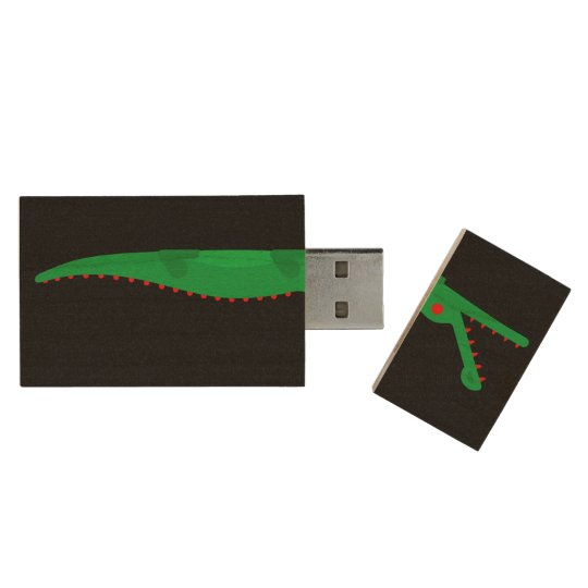 Protect without fear, Crocodile uncommon art Wood USB