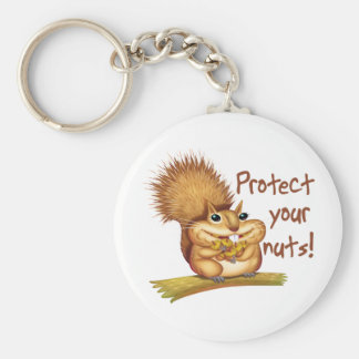 Protect Your Nuts Basic Round Button Key Ring