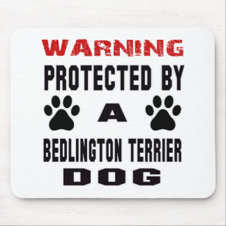 Protected By A Bedlington terrier Dog Mouse Pad