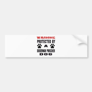 Protected By A Doberman Pinscher Dog Bumper Sticker