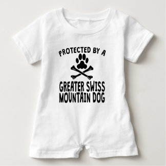 Protected By A Greater Swiss Mountain Dog Baby Bodysuit