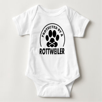 Protected By A Rottweiler Baby Bodysuit
