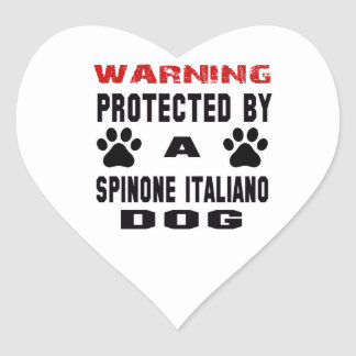 Protected By A Spinone Italiano Dog Heart Sticker