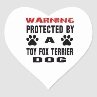 Protected By A Toy fox terrier Dog Heart Sticker