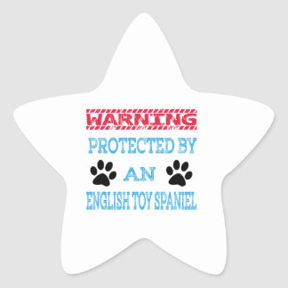 Protected by an English Toy Spaniel Dog Star Sticker