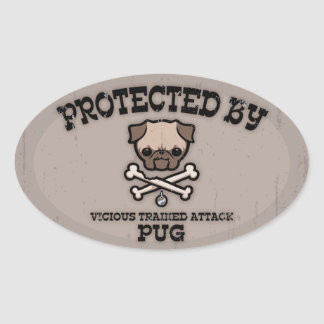 Protected By Pug Oval Sticker