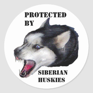 PROTECTED BY, SIBERIAN HUSKIES CLASSIC ROUND STICKER