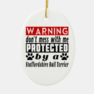 Protected By Staffordshire Bull Terrier Ceramic Oval Decoration