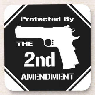 Protected By The Second Amendment Black png Coaster
