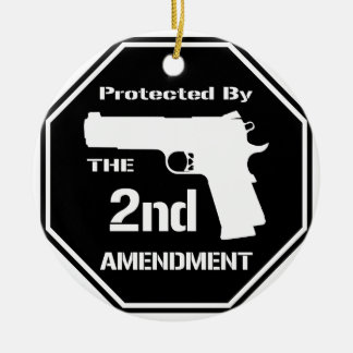 Protected By The Second Amendment (Black).png Double-Sided Ceramic Round Christmas Ornament