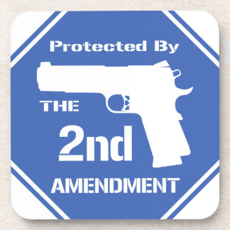 Protected By The Second Amendment Blue png Beverage Coaster