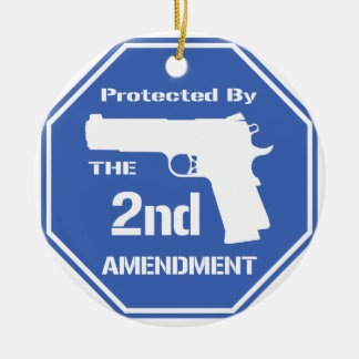 Protected By The Second Amendment (Blue).png Double-Sided Ceramic Round Christmas Ornament