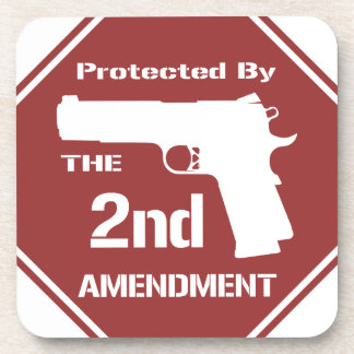 Protected By The Second Amendment Red png Beverage Coasters