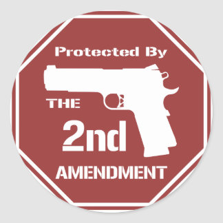 Protected By The Second Amendment (Red).png Round Sticker