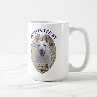 Protected By White Shepherd Basic White Mug