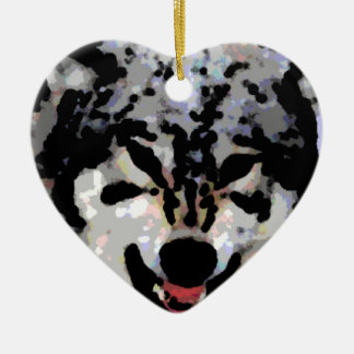 Protective Wolf Oil Ceramic Heart Decoration