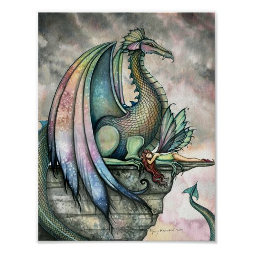 Protector Fairy Dragon Poster by Molly Harrison