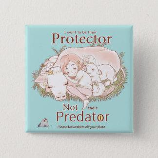 Protector Not Predator Go Vegan Love Animals en 15 Cm Square Badge