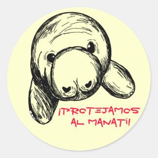 ¡Protejamos al Manatí! Classic Round Sticker