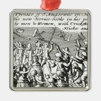 Protesters in Edinburgh, 1637 Silver-Colored Square Decoration