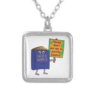 Protesting Bible Square Pendant Necklace