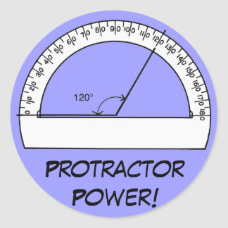 Protractor Power Round Stickers