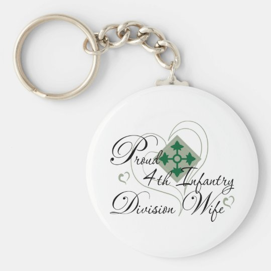 Proud 4th Infantry Wife Heart Basic Round Button Key Ring