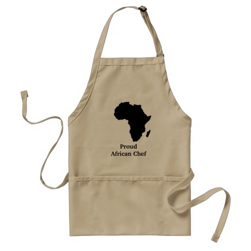"""""""Proud African Chef"""" Africa in Sleek Black Aprons"""