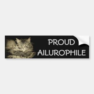 Proud Ailurophile ( Cat Lover) Bumper Sticker