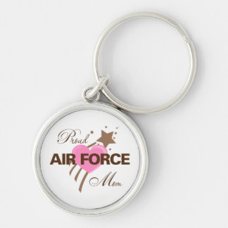 Proud Air Force Mom Heart Silver-Colored Round Key Ring