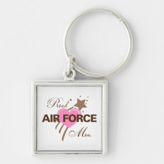 Proud Air Force Mom Heart Silver-Colored Square Key Ring