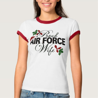 Proud Air Force Wife Christmas Holly T-Shirt