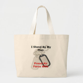 Proud Air Force Wife Large Tote Bag