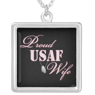 Proud Air Force Wife Square Pendant Necklace