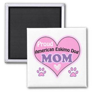 Proud American Eskimo Dog mom Square Magnet