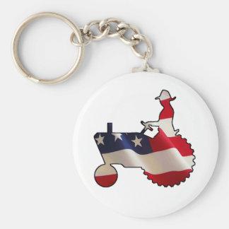 Proud American Farmer  USA Flag Tractor Keychain