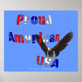 Proud American Patriotic USA Eagle Poster Print