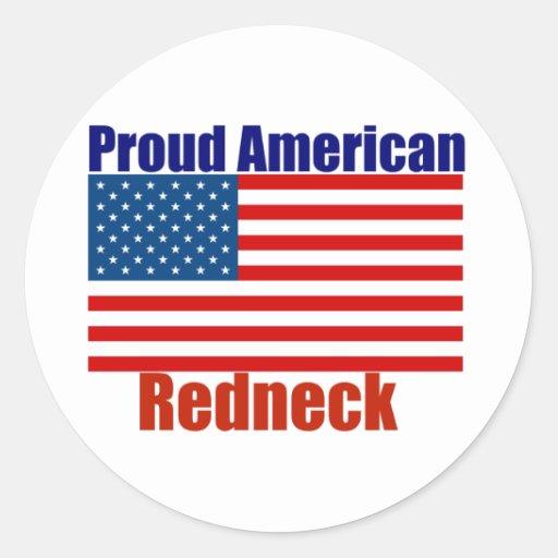 Proud American Redneck Round Sticker