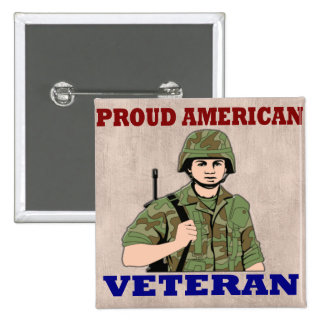 PROUD AMERICAN VETERAN 15 CM SQUARE BADGE