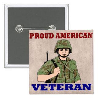PROUD AMERICAN VETERAN 15 CM SQUARE BADGE