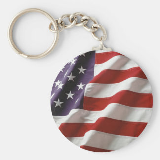 Proud and Patriotic USA Flag Basic Round Button Key Ring