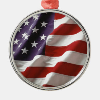 Proud and Patriotic USA Flag Silver-Colored Round Decoration