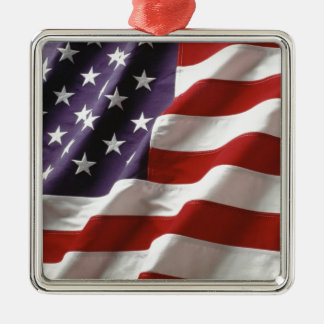 Proud and Patriotic USA Flag Silver-Colored Square Decoration