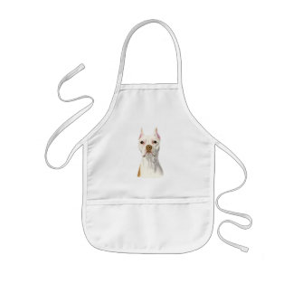 """Proud and Tall"" White Pit Bull Dog Portrait Kids Apron"
